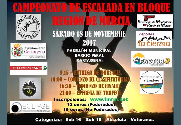 Campeonato de escalada en bloque región de Murcia